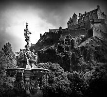 The Ross Fountain & Edinburgh Castle  by Aj Finan