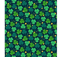 Happy emerald. Green trefoils pattern with coins Photographic Print