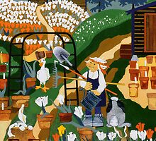 """Tulip Farmer"" greeting card by Dawn Peterson"