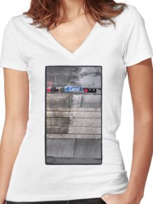 Canal in the Rain Women's Fitted V-Neck T-Shirt