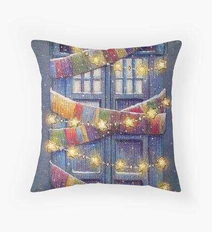 Doctor Who Christmas Tardis  Throw Pillow