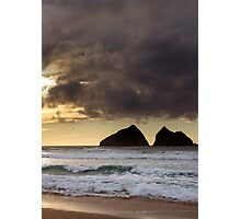 sunset at holywell bay, newquay UK Photographic Print