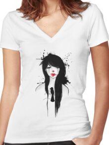 Clown girl II Women's Fitted V-Neck T-Shirt