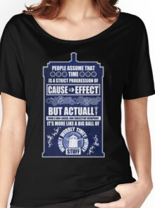 Doctor Who - Blink - People assume that time is a strict progression of cause to effect (WoodTexture) Women's Relaxed Fit T-Shirt
