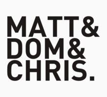 Matt&Dom&Chris. (black) One Piece - Long Sleeve