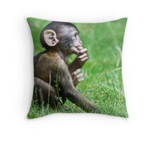 Eight Week Old Barbary macaques Throw Pillow