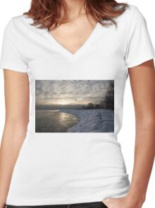 Cold, Moody and Fabulous - a Winter Morning on the Lake Shore Women's Fitted V-Neck T-Shirt