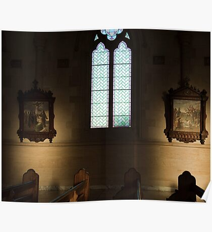 the window, the pews and the holy artwork Poster