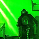 Stuffed Gorilla Lit By Green Neon by James  Birkbeck