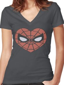 Spider-Man Heart T-Shirt Women's Fitted V-Neck T-Shirt