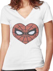 Spider-Man Heart T-Shirt Women's Fitted V-Neck T-Shirt