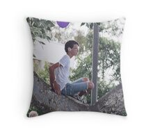 Boy With Balloon in Tree Throw Pillow