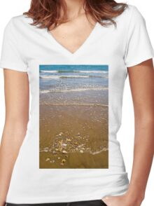 Waves Breaking on a Sandy Beach Women's Fitted V-Neck T-Shirt