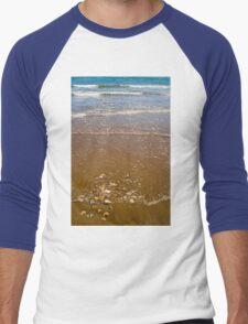 Waves Breaking on a Sandy Beach Men's Baseball ¾ T-Shirt