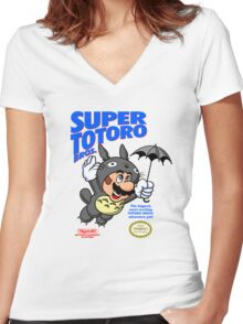 Super Totoro Bros Women's Fitted V-Neck T-Shirt