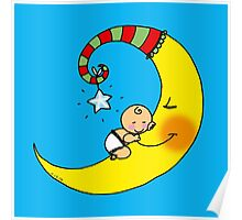 Cute sleeping baby on yellow moon Poster