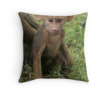 Young baboon in savanna grassland Throw Pillow