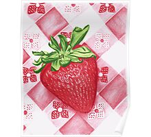 Berry Sweet Strawberry Colored Pencil Art Poster