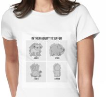 """In Their Ability To Suffer"" Vegan Design Womens Fitted T-Shirt"