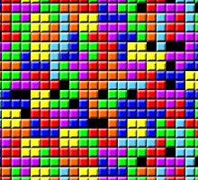 Tetris Inspired Retro Gaming Colourful Squares by Charley Z