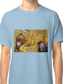 sitting Buddha with thick layer of golden leaves Classic T-Shirt