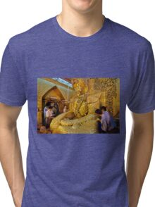 sitting Buddha with thick layer of golden leaves Tri-blend T-Shirt