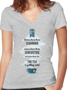 Doctor Who Somewhere tea is getting cold Women's Fitted V-Neck T-Shirt