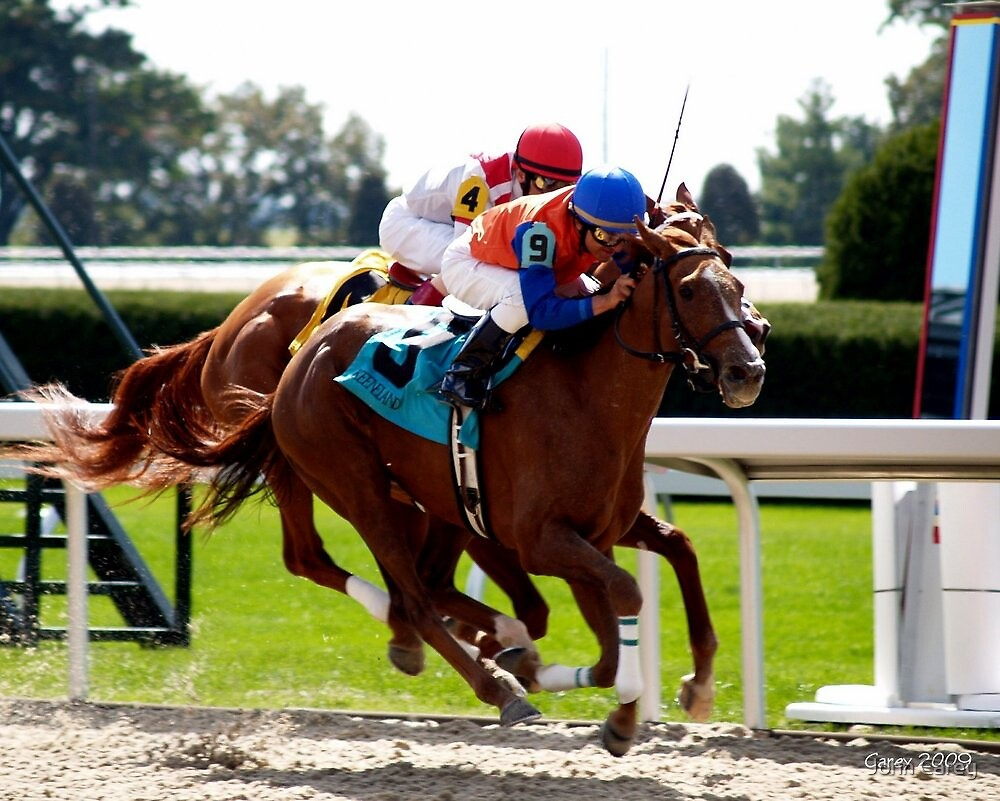 close finish - horse racing in kentucky by John Carey