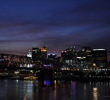 cincinnati from kentucky - evening skyline by John Carey