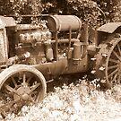 Antique Tractor in Sepia by Debbie Robbins