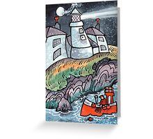 Lighthouse and Lobster Boat, Caldey, Wales Greeting Card