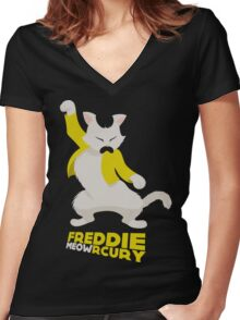 Freddie Meowrcury Women's Fitted V-Neck T-Shirt