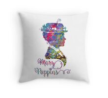 Mary Poppins Portrait Silhouette Watercolor  Throw Pillow