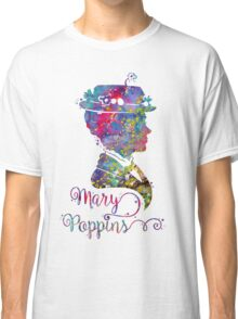 Mary Poppins Portrait Silhouette Watercolor  Classic T-Shirt