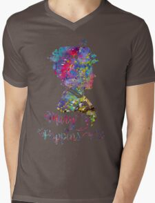 Mary Poppins Portrait Silhouette Watercolor  Mens V-Neck T-Shirt