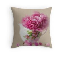 Little jug and peony Throw Pillow