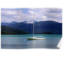 Lake, Boat and Mountain Poster