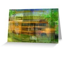 Old School Bus and Gas Pumps Greeting Card