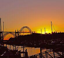 Summer Sunset at Yaquina Bay Bridge  by Chuck Gardner
