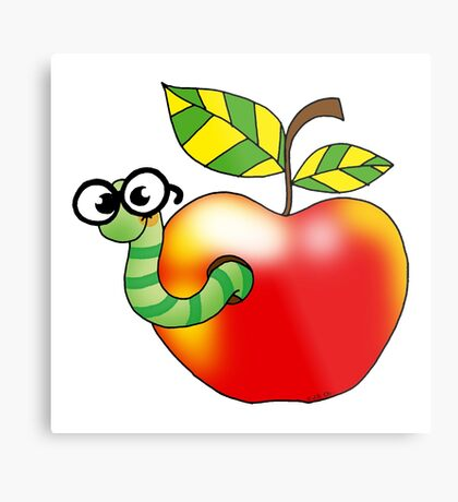 Smart bookworm with red apple Metal Print