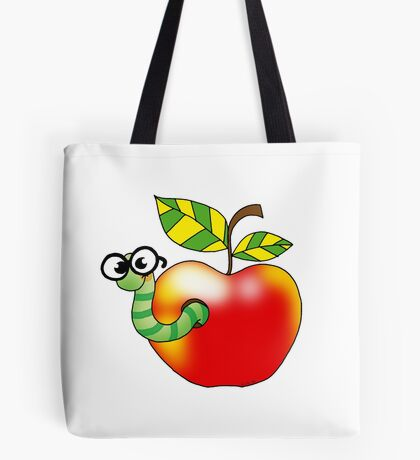 Smart bookworm with red apple Tote Bag