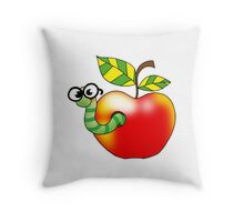 Smart bookworm with red apple Throw Pillow