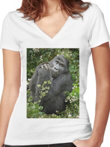 mountain gorilla, Uganda Women's Fitted V-Neck T-Shirt