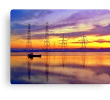 Sunset Over Alloa Harbour. Canvas Print