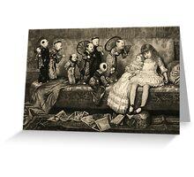 Sleeping Girl Dreams of Living Dolls Greeting Card