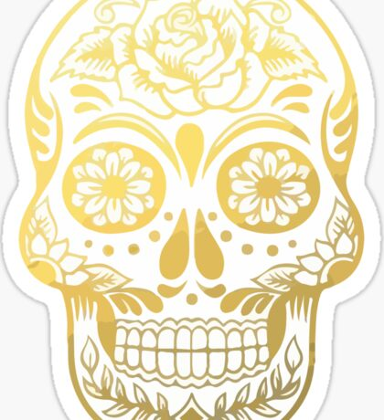 Gold Sugar Skull Sticker