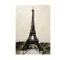 Postcard from Paris I - ink on paper Art Print
