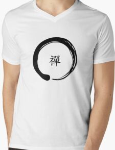 Zen Symbol with the word Zen in Chinese (Black) Mens V-Neck T-Shirt