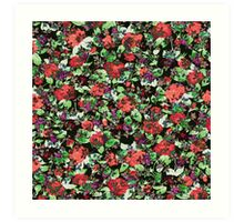 Red and Purple Floral Mash Up Art Print