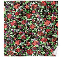 Red and Purple Floral Mash Up Poster